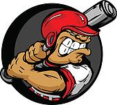 Tough Baseball Player with Helmet Holding Baseball Bat