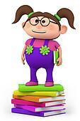 school girl standing on stack of bo