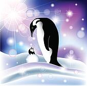 Parent and baby penguin in snowy background