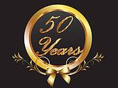 Gold 50th anniversary birthday vect