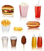Big group of fast food products