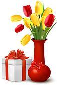 Flowers in vase and gift box