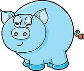 Lazy Farm Pig Vector Illustration