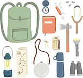 Set of different items for camping, editable vector