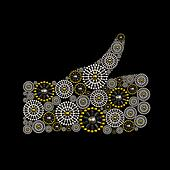 Thumb Up symbol conceptual jewelry design