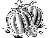 Retro pumpkins black and white