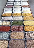 Indian pulses and cereals in an indian bazaar at bangalore, karnataka