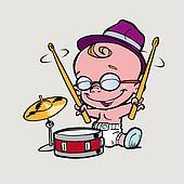 little boy play drum