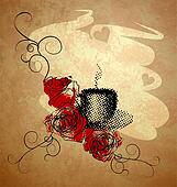 coffee cup, red roses grunge