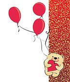 teddy bear baloons vector