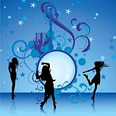 dancing girls on blue background