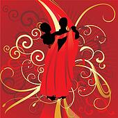 dancing couple on red backdrop