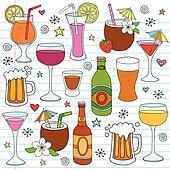 Beer Wine Drinks Vector Doodle Set