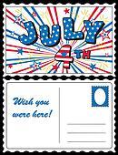 Postcard, July 4 Stars and Stripes