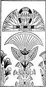 Egyptian Decoration with Lotus Flower Design, vintage engraving