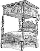 16th Century Bed at the National Museum of the Middle Ages in Paris, France, vintage engraving