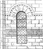 Apse of the Church in Franchesse in Auvergne, France, vintage engraving