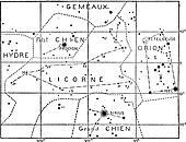 Monoceros or Unicorn Constellation, vintage engraving