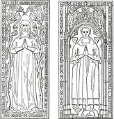 Tombstones, currently in the chancel of church of Saint-gervals, vintage engraving.