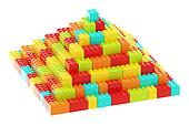 Pyramid made of toy construction bricks