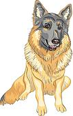 vector dog German shepherd breed smile