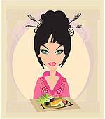 beautiful woman enjoys sushi