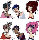 Set of beautiful vintage women. Vector  Illustration.