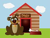 Cute Puppy Dog with Dog House