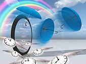 winged clock fly into the strange scene