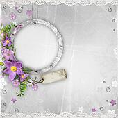 vintage paper photo frame with spring flowers on textured background