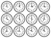 Wall clocks set on white background.