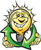 Happy Light Bulb with Hands Holding Recycle Symbol Cartoon Vecto