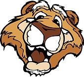 Smiling Cartoon Mountain Lion or Cougar Mascot Vector Graphic