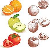 Orange, Apple, Tomato