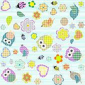 Seamless flowers and owl pattern in vector