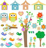 Set birds with birdhouses, owls, trees and flowers