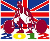 Games 2012 Weightlifting Retro British Flag