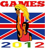 Games 2012 Athlete With Flaming Torch Retro British Flag
