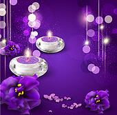 background with romantic candles and violets on purple ba