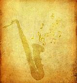 saxophone on old grunge paper