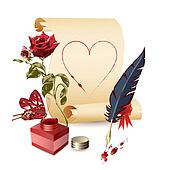 Papyrus, rose and a feather