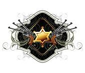 sheriff star with guns ornate frame