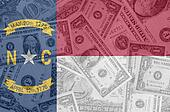 transparent united states of america state flag of north carolina with dollar currency in background symbolizing political, economical and social government