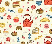 Seamless party sweets and treats pattern in vector