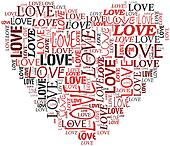 Valentines and love concept in tag cloud
