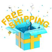 "Word ""free shipping"" inside a gift box"