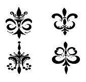 Set of Four Fleur De Lis's - Black