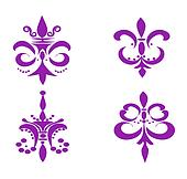 Set of Four Fleur De Lis's - Purple