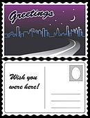 City Night Skyline Travel Postcard