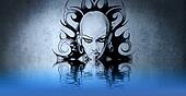 Beautiful woman with water reflection. Tattoo design over blue w
